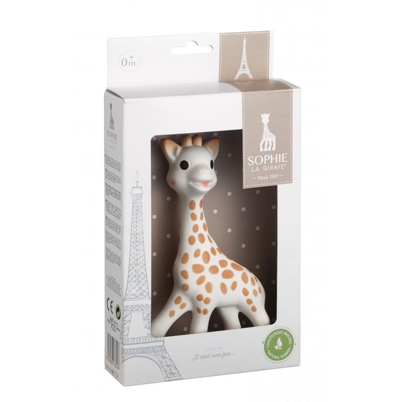 Juguete mordedor jirafa Sophie la Girafe de caucho natural de Hevea