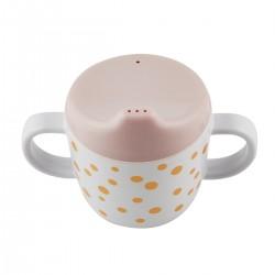 Taza antigoteo Happy Dots oro-rosa