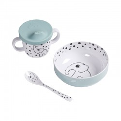SET VAJILLA First meal Happy dots azul