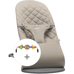 Pack Hamaca BabyBjorn Bliss Gris arena + juguete madera