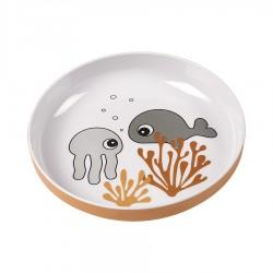 Plato Yummy mini Sea friends Mostaza/Gris