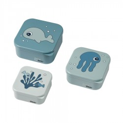 Set 3P Snack box Sea friends azul