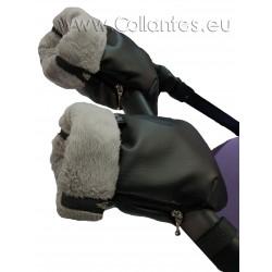 Guantes manoplas cochecito polipiel negro - polar gris