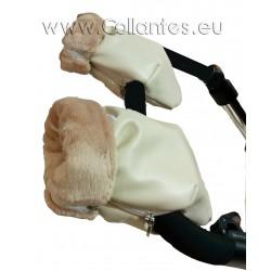 Guantes manoplas cochecito polipiel beige - polar camel