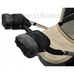 Guantes manoplas cochecito techno luxe negro - polar gris