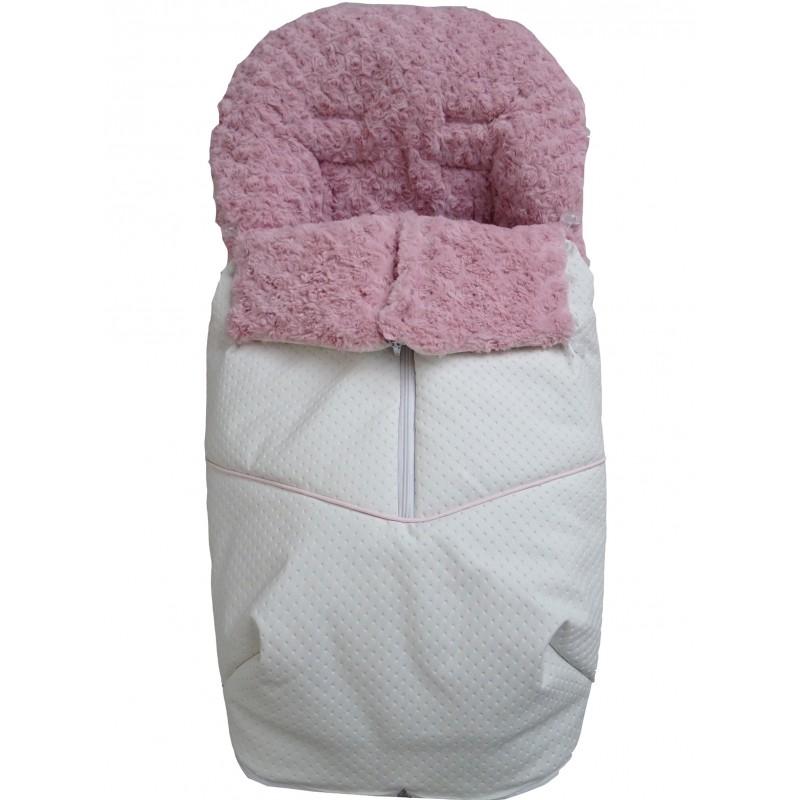 Saco de silla Universal invierno 2512 Polipiel blanco pelo rosa
