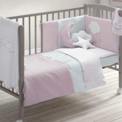 Colcha cuna y protector Petit Praia Dream rosa 60x120